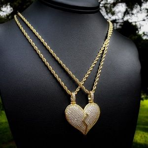 primobling Accessories - 14k Gp Couples Magnetic Iced Out Heart Necklace